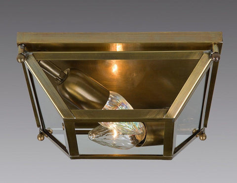 Brass And Glass Square Tapered Design Ceiling Mount Lantern LCM-38
