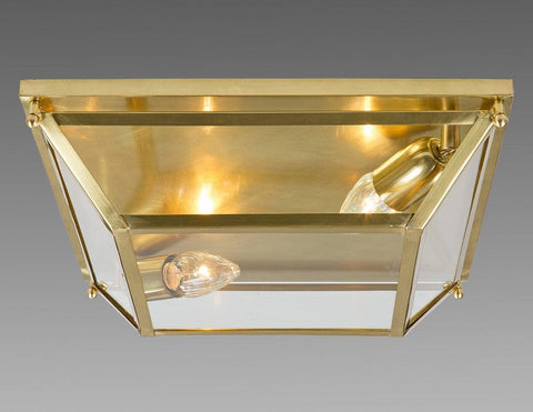 Brass And Glass Square Tapered Design Ceiling Mount Lantern LCM-35
