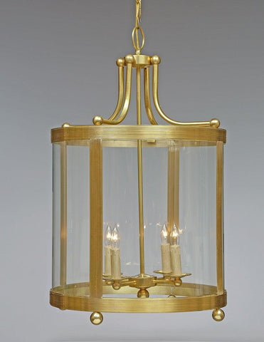 Brass Ribbed Tall Lantern With Ball Feet LL-111