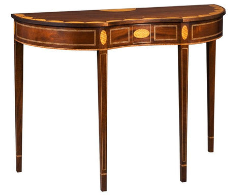 Shaped top demilune table with satinwood banding FOD-4