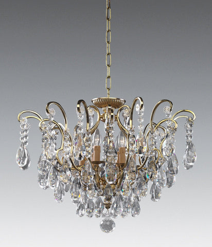 Crystal and cast brass six light chandelier LCC-42