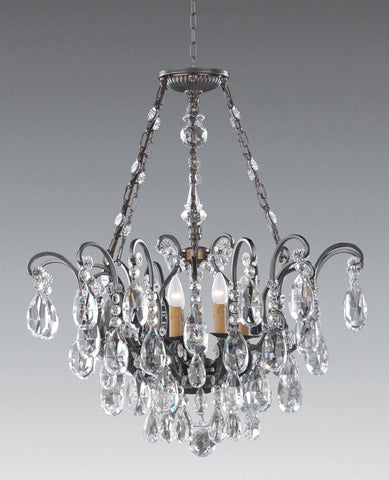Crystal and cast brass six light chandelier LCC-42a