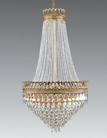 Crystal and cast brass 16-light chandelier LCC-44