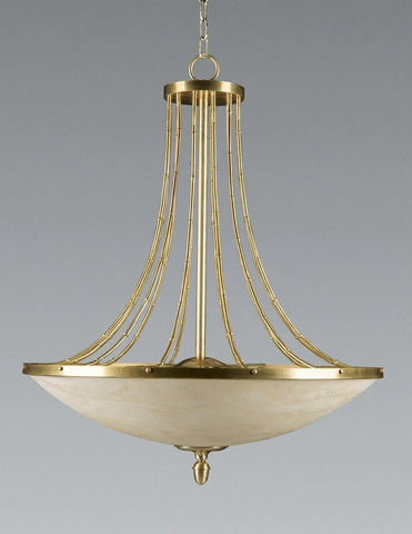 Brass Bamboo Stem Chandelier with Alabaster Shade LCFI-102