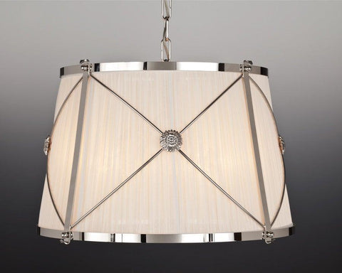 Brass and fabric shade X design four light chandelier LCFI-21c