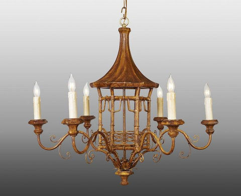 Metal and wood pagoda design chandelier LCFI-24a