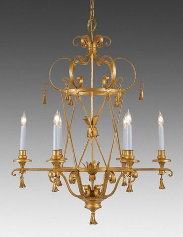 Metal criss cross and tassel design six light chandelier LCFI-44