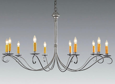 Federal Style Forged Metal Ten Light Chandelier LCHSC-27