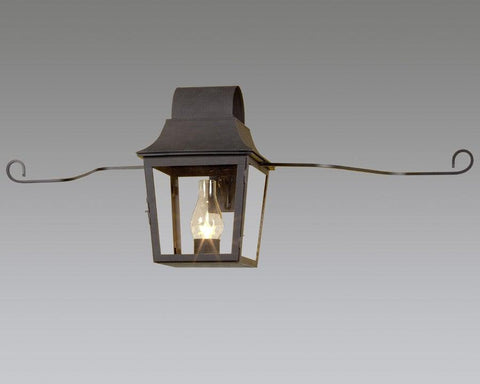Round Top Tapered Lantern In Metal Bracket Holder With Scroll Arms LEWM-18