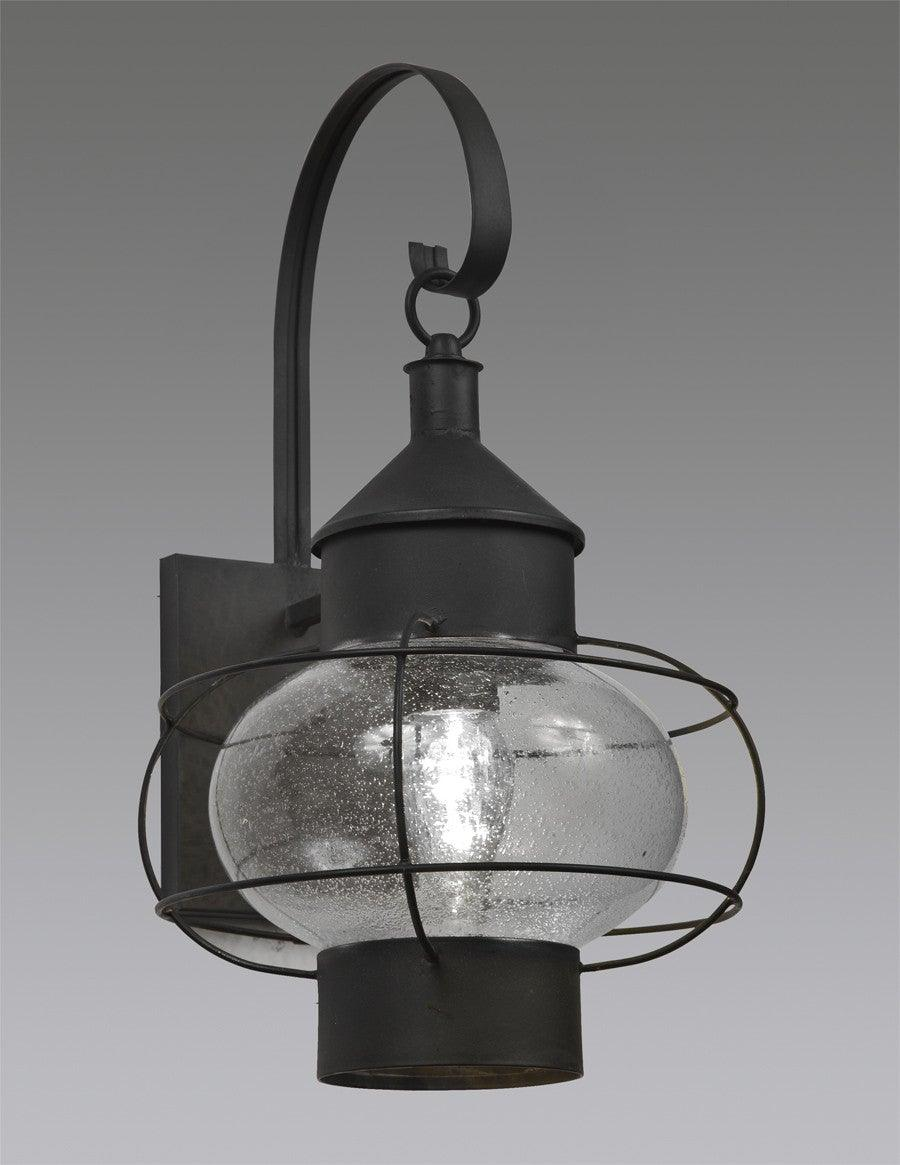 Caged Onion Lantern With Custom Seeded Glass Globe And Hook Backplate  LEWM 32B