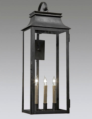 "Three Light Station Lantern With Hook (31.5""H) LEWM-54"