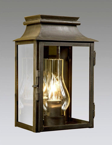 Mirror Back Station Lantern With Glass Shade LEWM-63
