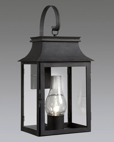 Station Lantern With Glass Shade And Shepards Hook LEWM-6