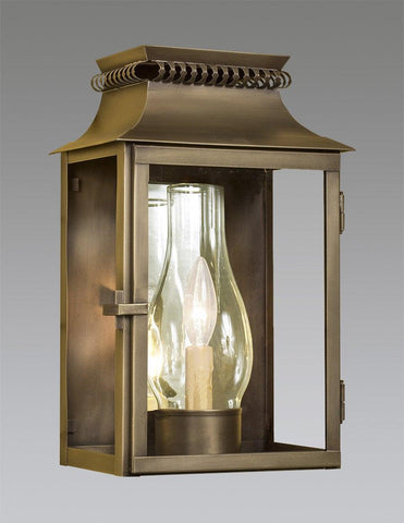 Brass Station Lantern With Cut Out Top And Glass Shade LEWM-80
