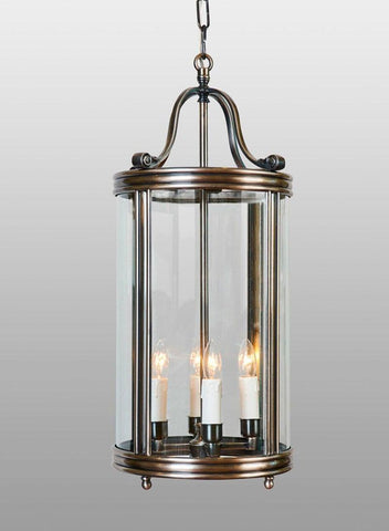 Brass And Glass Tall Round Lantern LL-11D