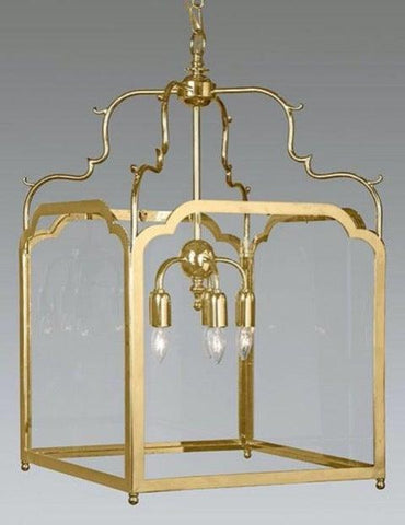 Brass And Glass Squared Hanging Lantern LL-120