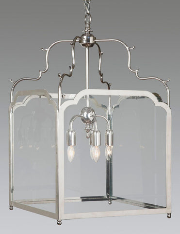Brass And Glass Squared Hanging Lantern LL-120A