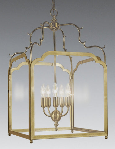 Brass And Glass Squared Hanging Lantern LL-121a