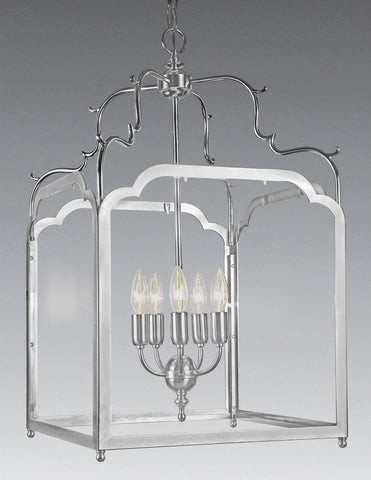 Brass And Glass Squared Hanging Lantern LL-121b