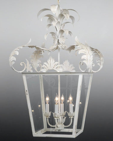 "Metal And Glass Leaf Design 45"" H Lantern LL-26c"