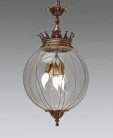 Round Globe Crown Style Lantern With Wire Frame LL-501b