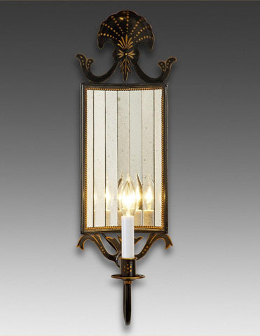 Tole Sconce With Decorated Top And Curved Back Antiqued Mirror LSFI-102