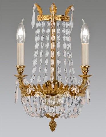 Crystal And Cast Brass Sconce LSFI-108