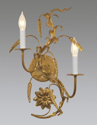 Metal Wheat, Flower And Leaf Design Sconce LSFI-114