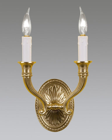 Cast Brass Oval Back Floral Design Sconce LSFI-11