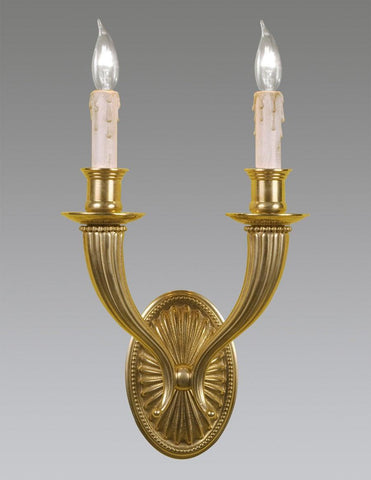 Oval Back Ribbed Design Sconce With Bobesches LSFI-13