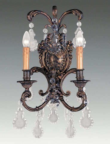 Crystal and cast brass two light sconce LSFI-160