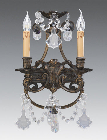 Crystal and cast brass two light sconce LSFI-161