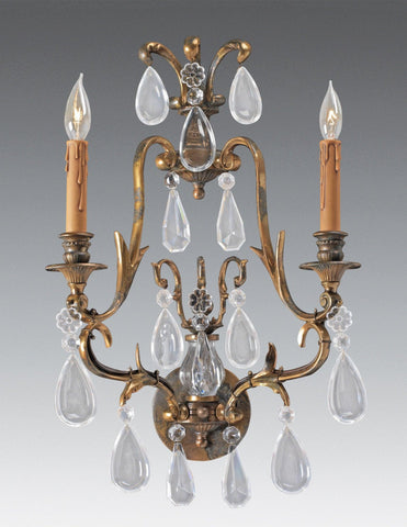 Crystal and cast brass two light sconce LSFI-162