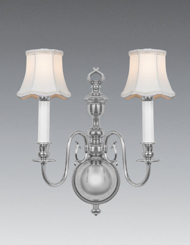 Scroll Arm Design Two Light Sconce With Fabric Shade LSFI-164b