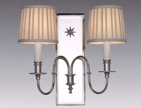Brass and Mirror Back 2-Arm Sconce LSFI-165