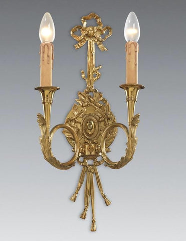 French Louis XVI Bow and Tassel Two Light Sconce with French Horn Inspired Arms LSFI-168