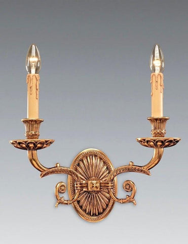 Empire Style Two Light Sconce with Detailed Casted Arms and Bobeches LSFI-169