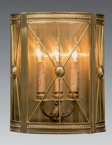 Nailhead trim inspired Three Light Sconce with Curved glass and Criss-Cross Design LSFI-170