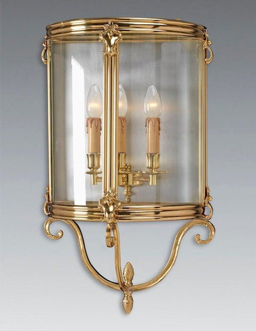 Scroll Arm and Finial Three Light Sconce with Curved Glass LSFI-171