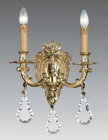 Brass Baroque 2-Light Sconce With Crystals LSFI-173