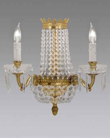 Crystal And Cast Brass Sconce LSFI-55