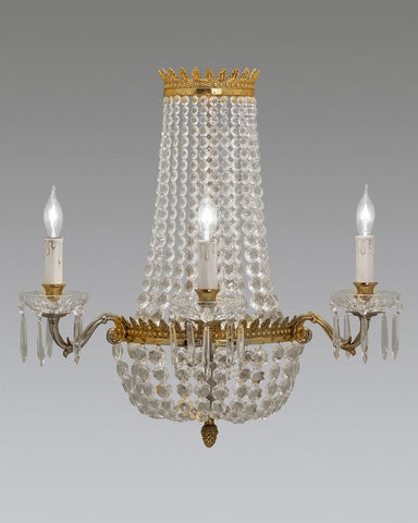 Crystal And Cast Brass Sconce LSFI-56