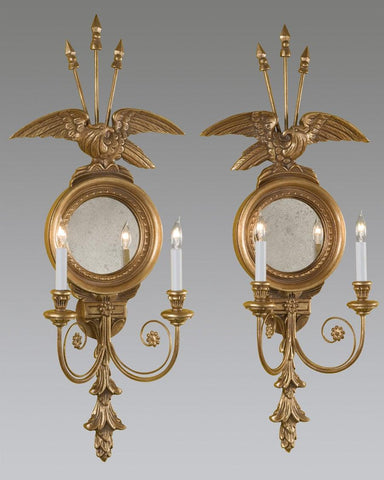 Eagle And Arrow Design Sconce With Antiqued Mirror LSFI-82