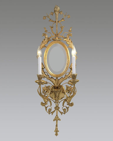 Floral Design Sconce With Oval Mirror LSFI-85