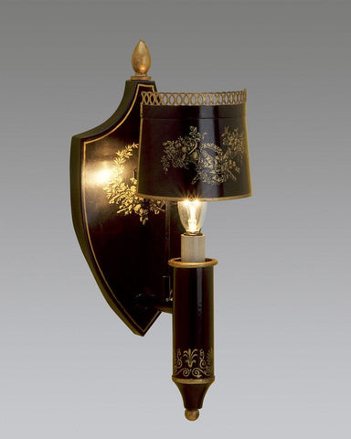 Tole Sconce With Half Shade And Shield Back Design LSFI-96A