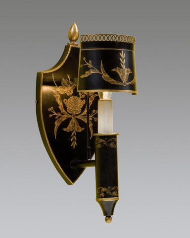 Tole Sconce With Half Shade And Shield Back Design LSFI-96B