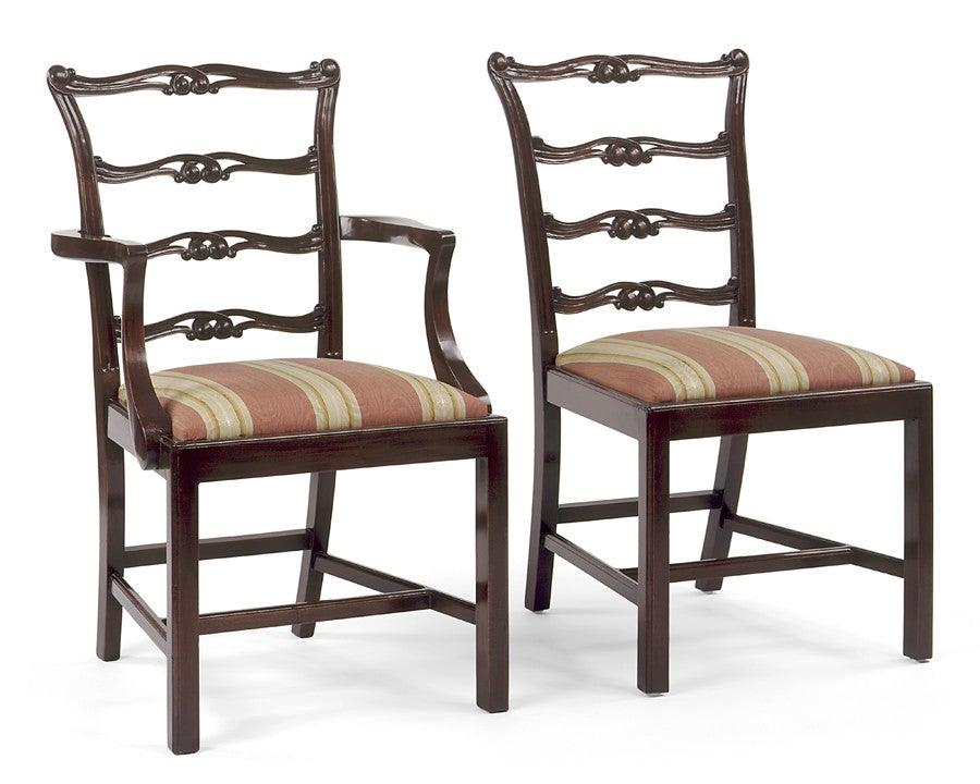 Chippendale Style Carved Ladder Back Arm Chair And Side Chair FSFI 25