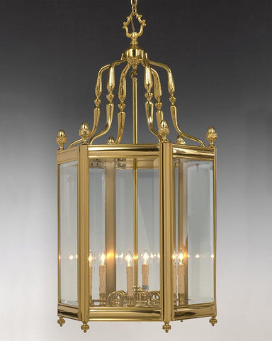 Hexagonal Hanging Lantern With Finials LL-6a