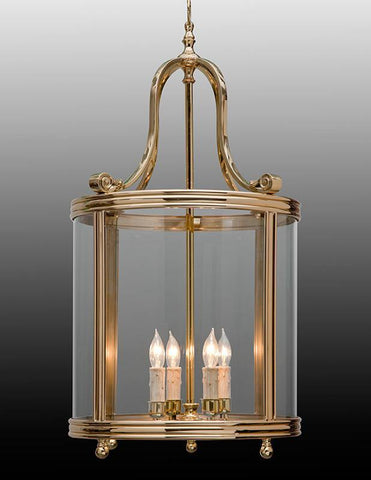 Bell Shaped Top Round Lantern in Shining Brass LL-9B