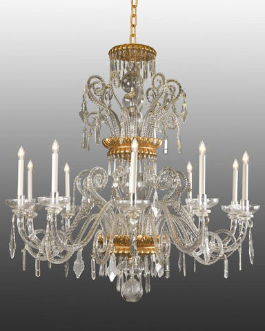 Crystal and wood ten light chandelier LCC-8